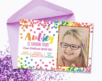 Rainbow Birthday Party Invitation-Rainbow Confetti-Picture Invitation-Printable-by Designs by Laura