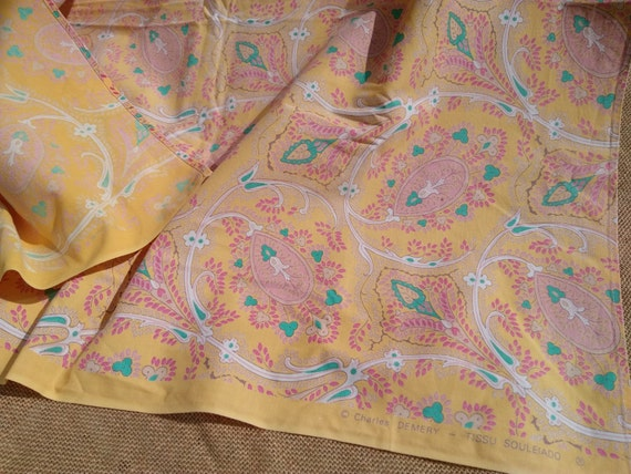 Vintage 70's Ch Demery Souleiado Tablecloth or Provence Fabric Yellow Cotton Green Lavender Pink White Paisley Design #sophieladydeparis