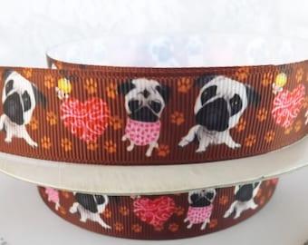 Pug ribbon Pug dog grosgrain ribbon 7/8 dog printed Grosgrain ribbon