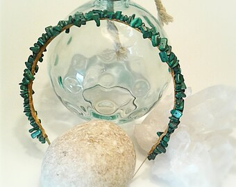Malachite Chips Diadem. Gemstones Headband. Made to Order
