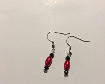Black and Metallic Red Earrings
