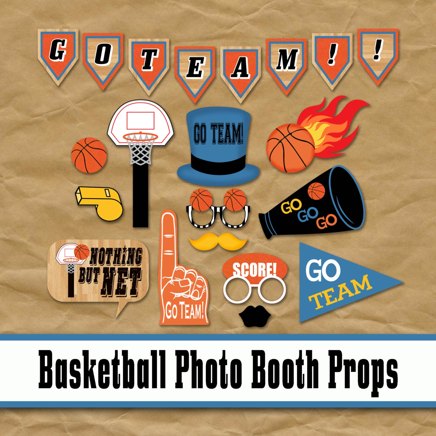 Basketball photo booth props and party decorations printable for Basketball craft party ideas