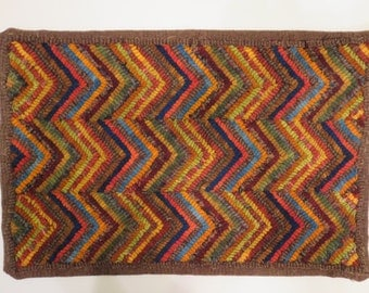 "primitive style hand hooked wool rug 19"" x 12.5"" juliemayfieldhome"