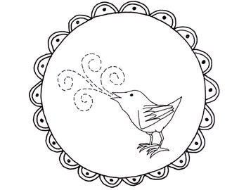 Bird Embroidery Pattern Woodland Animal Digital Downloadable 0107