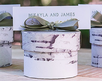Birch Round Favor Boxes - Always and Forever on Front - Package of 12
