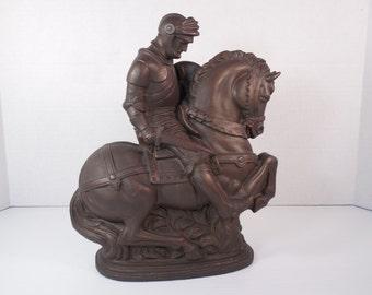 Vintage Medieval Knight In Armor Conquistador On Horse Sculpture Figurine Faux Bronze Brass Knight In Full Armor Helmet Dagger Shield Horse