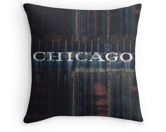 Pillow Cover Chicago Photography, Industrial Chic, Modern Steampunk, City Loft Style, Manly Decor, Warehouse Decor, Chicago, Train, Urban