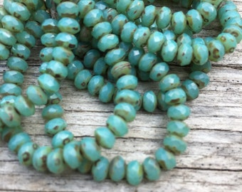 5x3 green turquoise opal rondelles, turquoise, aqua picasso czech glass  beads