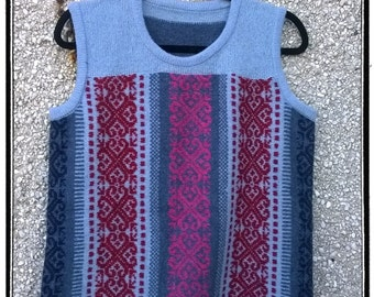 Knitted vest,free shipping to UK,Knitted top less,vest made from pure soft Lambswool,Shetland top,Fair isle tank top,