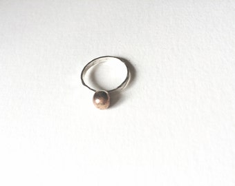 Sterling Silver and Bronze Pearl Ring || Round Ring || Stacking Ring