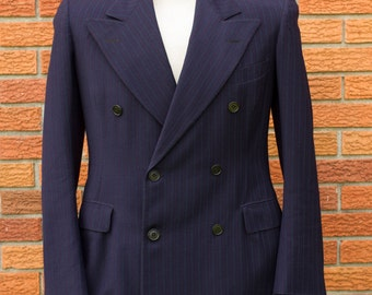 1940s Navy Blue Pin Striped Double Breasted Men's Suit Tagged 1939-1948 Size 38-40