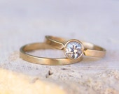 White Sapphire Engagement Ring // White Sapphire in 14k Gold // conflict free  // Solitaire Ring // eco friendly // recycled gold