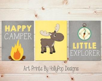 Yellow gray nursery art Happy Camper Little Explorer Moose nursery decor Adventure theme nursery Woodland wall decor Toddler boy art #1593