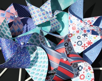 12 Large Spinning Twirling Patriotic  Pinwheels ... Let's Hear It For The Red, White and Blue! 4th of July Parties