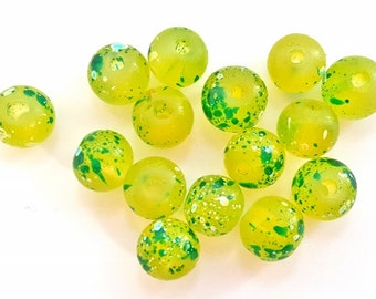 Yellow with Green Speckled Glass Beads.  15 Beads.  8mm in Size.  Pretty and Unique.  3 Orders Available.  Fun and Funky!!!