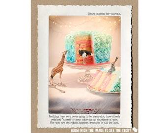 8x10 The Secret to Success Print • Animal Home Decor • Motivational Digital Print • Collectible Animal Tales Art • Fable Wall Art • Giraffe