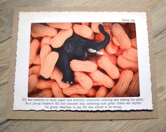 11x14 Elephant Circus Peanut Witty Wall Art Print • Humorous Animal Print • Circus Animal Story • Office Decor • Gift Under 20 • Candy Art