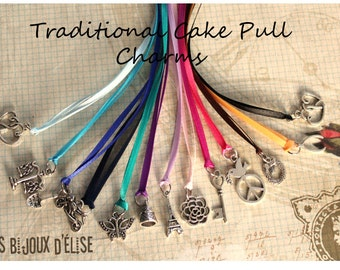 12 pcs Traditional Wedding Cake Pull Charms - Color Ribbons (CP04)