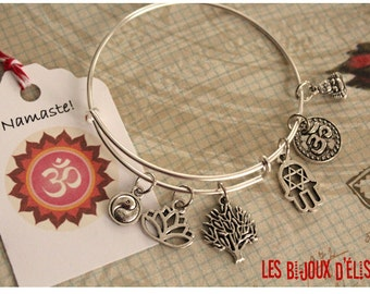 Meditation Wire Bangle Bracelet Yoga Charm Bangle Expandable Bracelet Zen Bangle (BAN01)