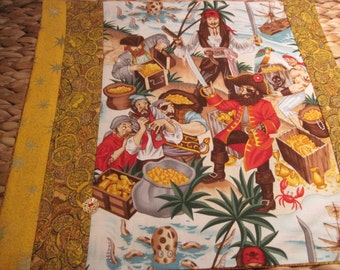 14 x 14 Unique Pillow Cover - Captain Jack Meets Blackbeard and his Scurvy Pirate Crew