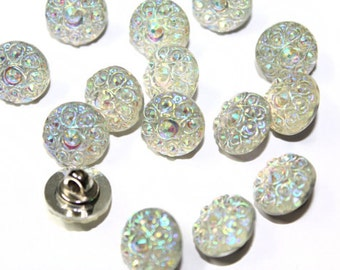 Crystal AB Rhinestones Look Round Sewing Buttons 20 PCS