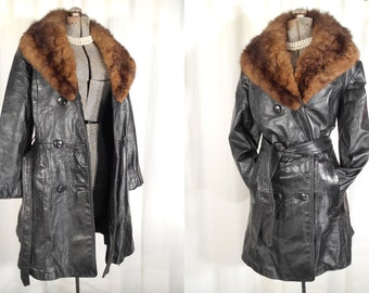 Vintage 1960s Coat - Black Leather Pea Coat, Mod Coat with Large Fur Collar