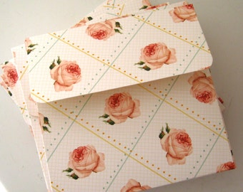 12 CD DVD Envelopes Folders White Pink cabbage Roses Square envelopes Photography Wedding Video disk presentation 5-1/4 x 5-1/8 x 1/8