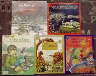 5 Carol Carrick books Patrick's Dinosaurs, Ben and the Porcupine, A Rabbit for Easter