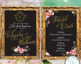 SET of Wedding Chalkboard Sign Set - ANY TWO Signs - Welcome Sign, Events, Program, Bar Menu, Thank you Sign, Etc.