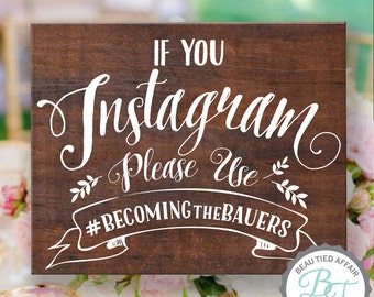 Rustic Wooden Wedding Sign • If You Instagram Wood Sign