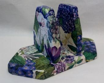 Handmade Decoupage Salt & Pepper Napkin Holder Hydrangea Flowers