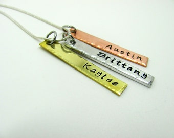Hand Stamped Tri Color Bar Name Necklace, 3 Bars,  Silver, Brass, Copper