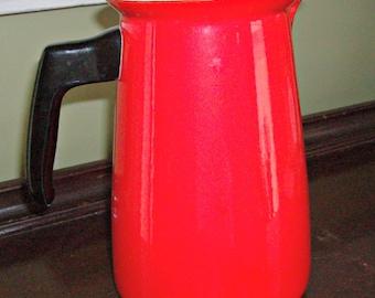 Vintage Orange Enamelware Pitcher