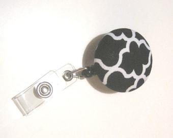 Retractable ID BADGE Reel Holder, Lanyard, Gift - Cute Black Geometric Quatrefoil Pattern