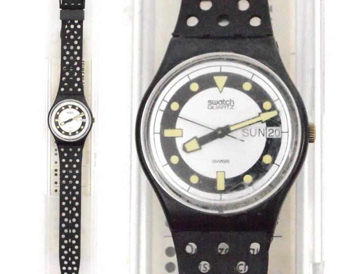Vintage 80s Swatch Swiss Watch Bandos Diver GB710 Quartz Wristwatch