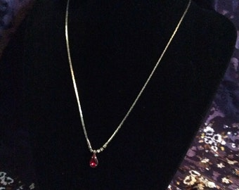 Red raindrop necklace 17 in