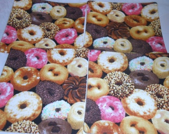 Donut Coaster Set, Doughnut, Fabric Coasters, Set of 4, coaster set, coaster, washable coaster, Retro coaster, mug rug, Donut, trivet