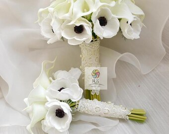 artificial flower wedding bridal bouquet real touch calla lily