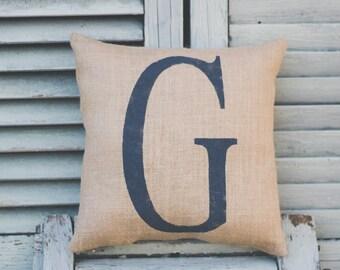 Initial pillow, decor pillow, burlap pillow, fabric pillow, burlap decor 12x12 square pillow