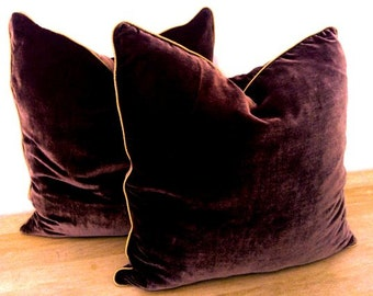 "Throw Silk Velvet Pillow Cover 22"" by 22"", Chocolate Brown with Ivory Trimming, Free Shipping"