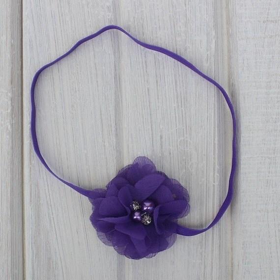 Infant Flower Headband, Purple Headband, Baby Headband, Purple Headbands, Purple Headpiece, Infant Headbands, Newborn Headband