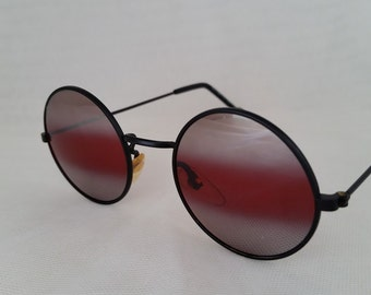 Vintage Round Rose Lenses Black Wire Frame Sunglasses.  Hippie Rose Colored Sunglasses, Round Rose Colored Lenses. Groovy Sunnies