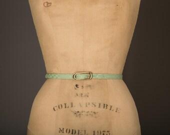1960s Light Green Pattern Fabric Skinny Belt