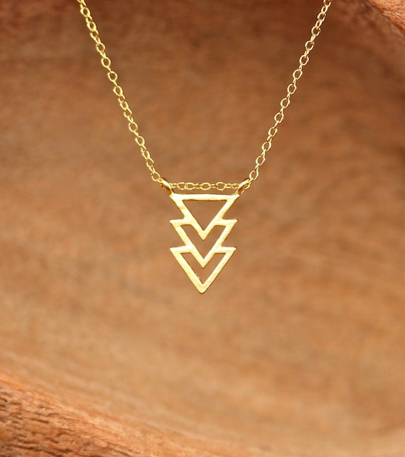 Triangle necklace - geometric necklace - chevron necklace - three triangles necklace - a gold triangle pendant on 14k gold vermeil chain