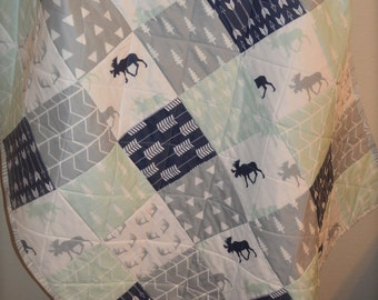Baby boy quilt/ Mint, Navy, and Gray Woodland / Moose Crib Quilt / Baby Blanket / Baby Bedding