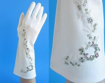 Bridal Gloves Beaded Gloves Rhinestone Gloves Wedding Gloves Long White Gloves Prom Gloves Debutante Gloves Bride Gloves Vintage Gloves