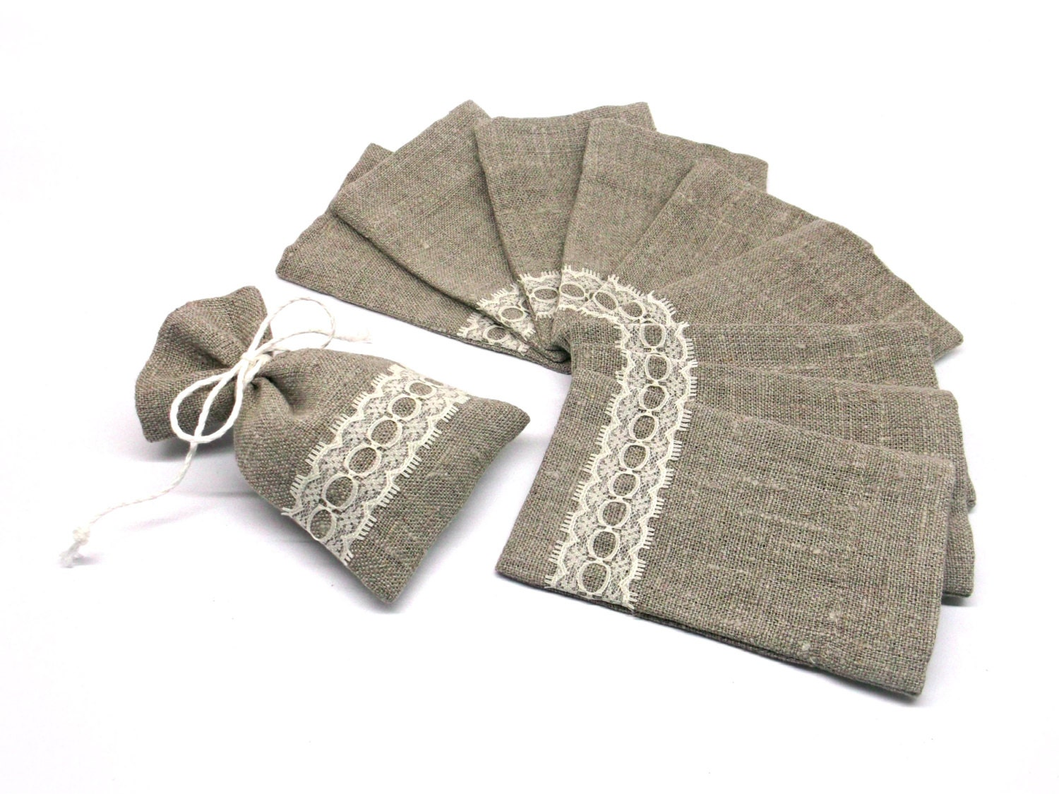 20 Rustic Wedding Thank You Bags Small Linen And Lace Favor