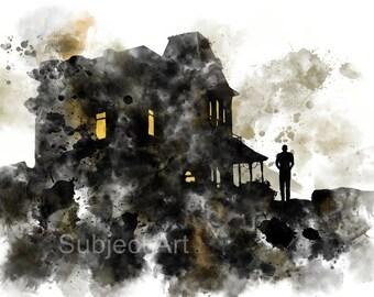 Psycho inspired ART PRINT illustration, Norman Bates, Wall Art, Horror, Bates Motel, Movie, Film