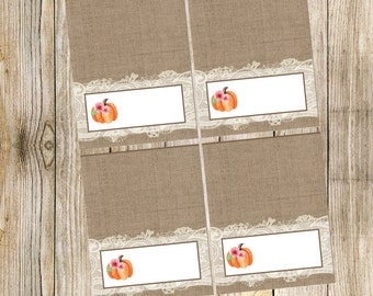 Pumpkin Shabby Chic with Burlap & Lace - Tent Cards for Food or Seating