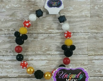 Mickey Mouse Chunky Necklace,  Minnie Necklace, Minnie Mouse Chunky Bead Necklace, Mickey Necklace, Chunky Bead Necklace, Girl Necklace,